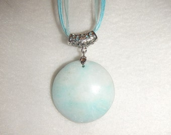 Round Amazonite pendant necklace (JO586)