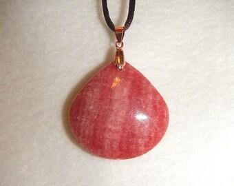Teardrop-shaped Pink Rhodochrosite pendant (JO475)