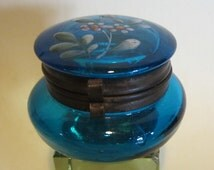 Gorgeous antique Victorian enameled blue glass pillbox, trinket box, dressing table, container. ca 1880