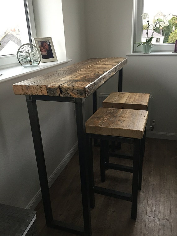 Industrial Style Reclaimed Wood Breakfast Bar And Two Stools