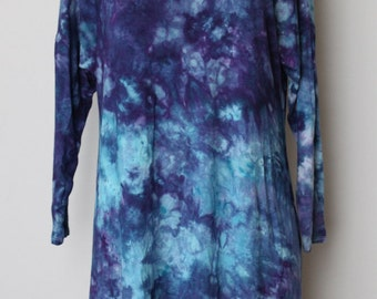 Tie Dyed Tunic dress Ice Dyed size Small - Mackenzie's Ocean crinkle
