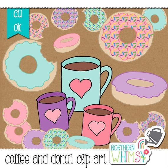 Coffee and Donut Clip Art Set - pink, aqua, and lavender ...