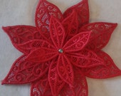 Free Standing Lace Poinsettia Christmas, Yule, Festivus, Ornament, Decoration, Tree Ornament