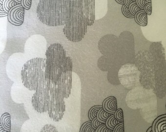 Organic clouds flannel fabric