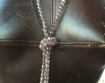 Rose Beads and chain LAYERED Lariat KNOT Necklace