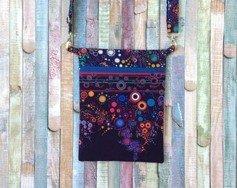 Lightweight crossbody bag, Colorful travel bag, Black little handbag