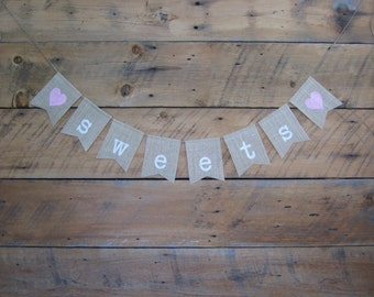 Sweets Burlap Banner - Baby Birthday Party Decoration - Child Party Burlap Sign - Burlap Garland - Hessian Bunting _ Cupcakes