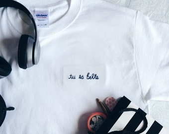 "Tumblr Embroidered ""tu es belle"" T-Shirt (customize!) Active"