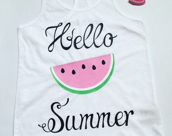 Hello Summer Watermelon Tank    Kids tank    Summer    Racerback Tank    Kids    Infant Tank Top