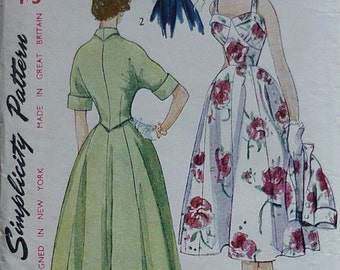 Vintage sewing pattern. Simplicity 3207, 1950s dress pattern, bust 34""