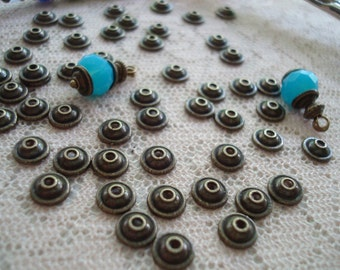 100 Perfect Miniature Bronze Stepped Dome Caps. 6x2.5mm. So Tiny & Sweet! You'll Fall In Love With These!  ~USPS Ship Rates/ Oregon