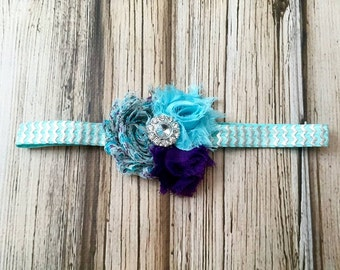 Vintage Blue and Purple Floral Flower Headband for Baby Toddler and Girls