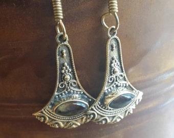 Valentines Day Sale Hammered Brass Earrings Labradorite Etched Earrings Holiday Sale Earrings Dangle Drop Earrings Boho Gypsy Bohemian Gift