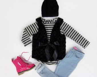 Girls Black Faux Fur Vest Size 8/10-Ready to Ship