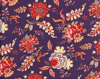 Swatch indienne fabric motif 5 on purple base - 50x55cm