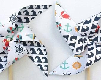 Pinwheels - Waves, Beach, Nautical, Crabs, Sailboats - Set of 6