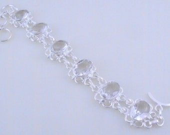 free shipping F-447 Stunning White Topaz .925 Silver Handmade Jewelry Bracelet 24 Gr.