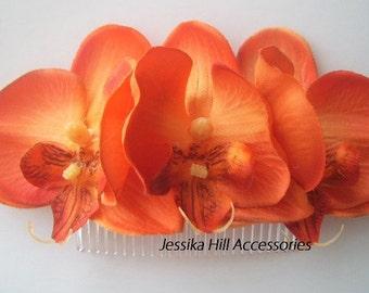Rockabilly Pin Up Orange  Triple Orchid hair Flower Fascinator comb