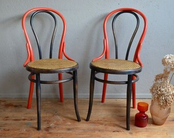 Pair of chairs Thonet bent wood chair parisian Belle Epoque Bohemian upcycling Paris English bentwood furniture bistro chairs Belle Lurette