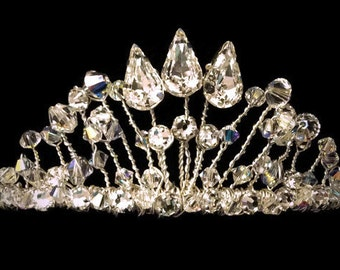 crystal princess tiara, any colour, Swarovski, custom headband, bride, ballerina, prom, bridesmaid hair accessory, pageant headdress,