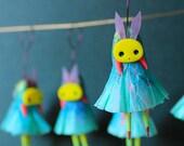 Miniature Figurine | OOAK | Whimsical Fairy, Bunny Rabbit. Fairy Doll, Small Figurine, Tiny Doll, Animal Figurine, Designer Toy