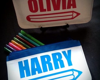 Personalised Childrens Pencil Case/Pencil Case/Gift for Boy/Gift for Girl/Personalised/Pink/Blue/School pencil case