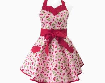 Womens Retro Cherries Apron, Pink Retro Apron, Cherries Retro Apron, Personalized Apron, Red & Black Cherries Apron, Bridal Shower Gift