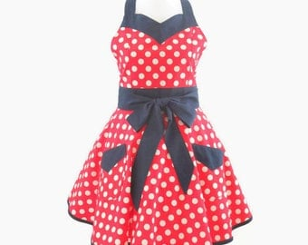 Womens Red & White Polka Dot Apron, Patriotic Retro Apron,  Red, White Blue Apron, July 4th Retro Apron, Personalized Red, White Blue Apron