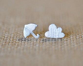Umbrella and Puffy Cloud Mismatched Stud Earrings, Cloud Earrings, Umbrella Earrings, Jamber Jewels