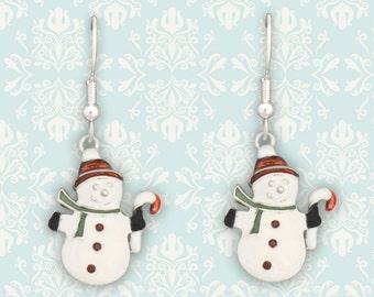 Snowman in Red Cap Earrings