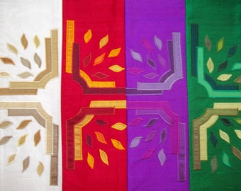 Santa Fe custom designed clergy stole on  Dupioni Silk