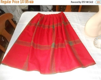 """VINTAGE SUMMER SALE Vintage red plaid wool skirt- made by """"Clother- Ross Togs"""" Size 14- made in Usa- 1970's"""