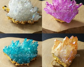WT-P637 Amazing 24k Real gold plated raw natural cluster crystal quartz stone pendant