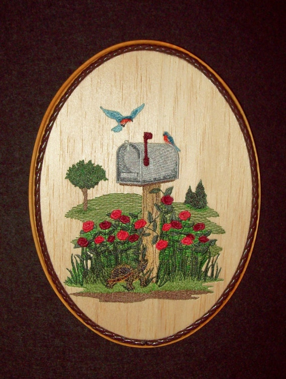Wall Decor Mailbox : Items similar to rural mailbox wall decor embroidery wood