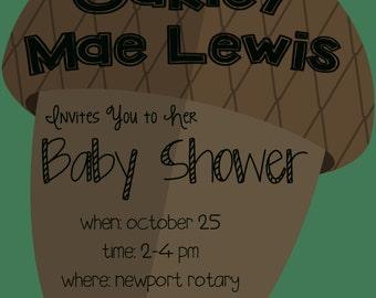 Acorn Baby Shower Invitation