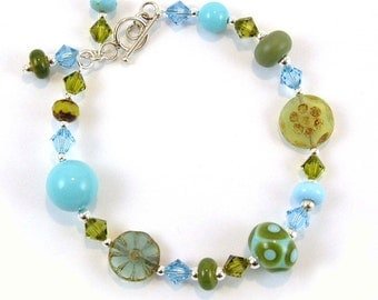 Greens & Blues Lampwork Glass Bracelet