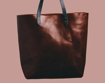 Cognac leather handbag. Handmade.