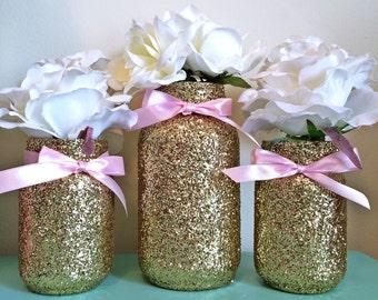 Mason Jars Pink Gold, Baby Shower Ideas, Baby Shower Decorations, Wedding,  Wedding