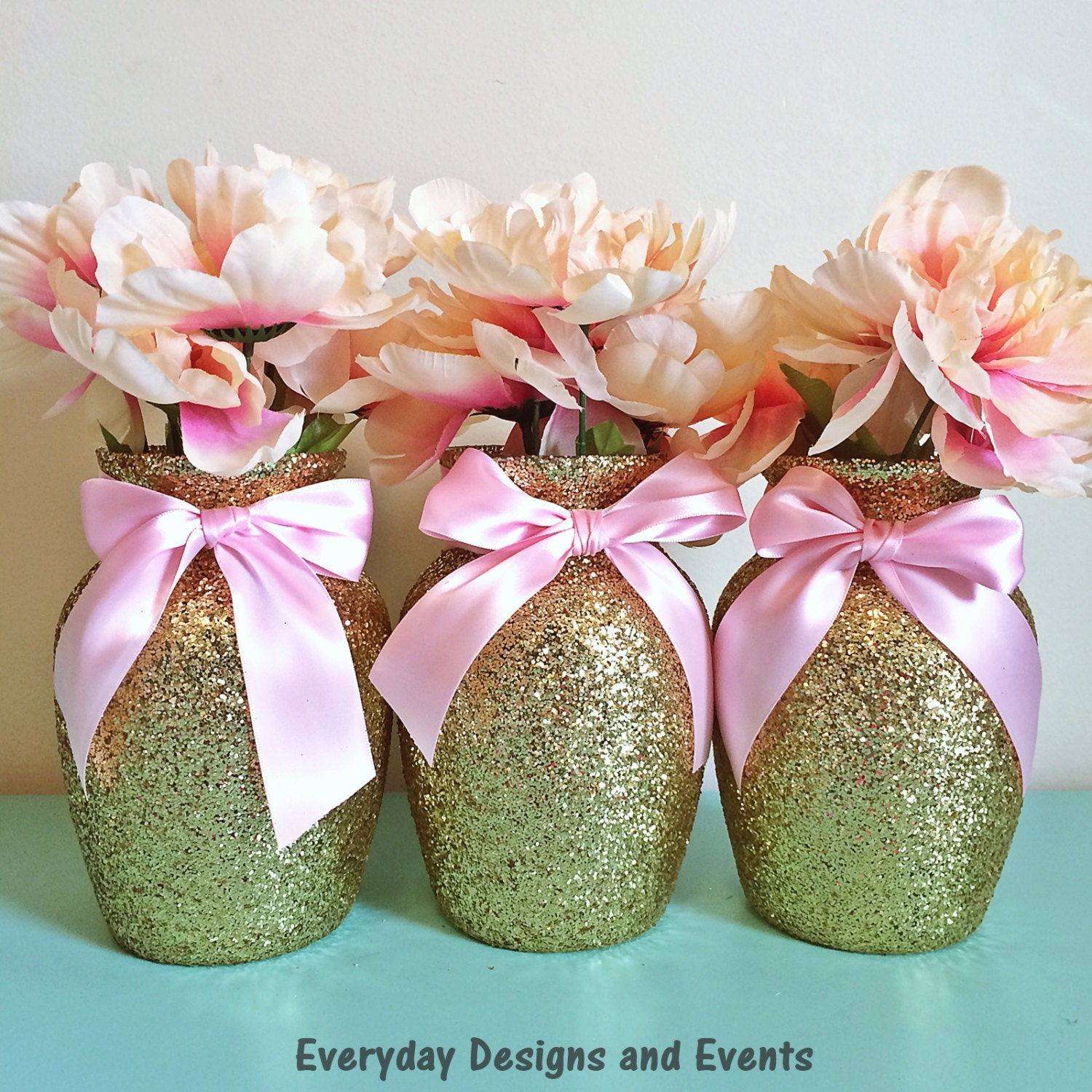 3 Gold & Pink Vases Gold and pink Baby shower Baby shower