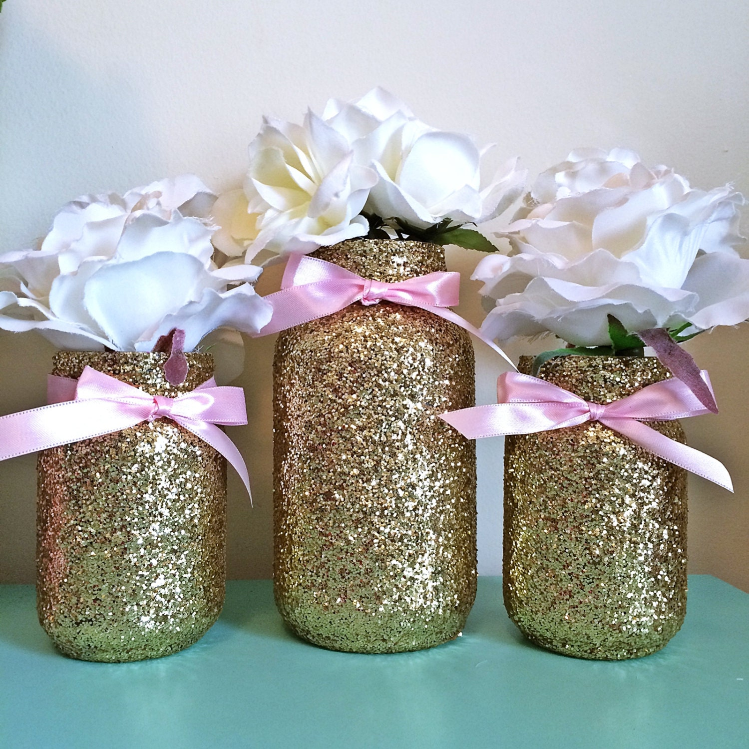 Mason Jars Pink Gold baby shower ideas baby shower decorations