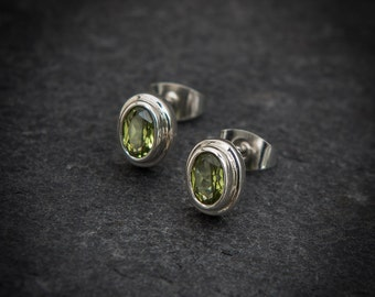 Peridot Faceted Semi Precious and Sterling Silver Stud Earrings