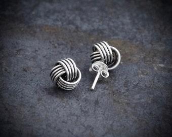 Silver Studs, Stud Earrings, Classic Earrings, Everyday Earrings, Nautical Earrings, Knot Studs, Twist Earrings, Sterling Silver, 925