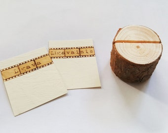 Rustic wedding name card holders, wooden place card holders, SET of 120 natural pine card holders, Shabby Chic decor, wedding table decor