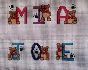 Lovely completed Boys or Girl Teddy Bear Cross Stitch Name Sampler