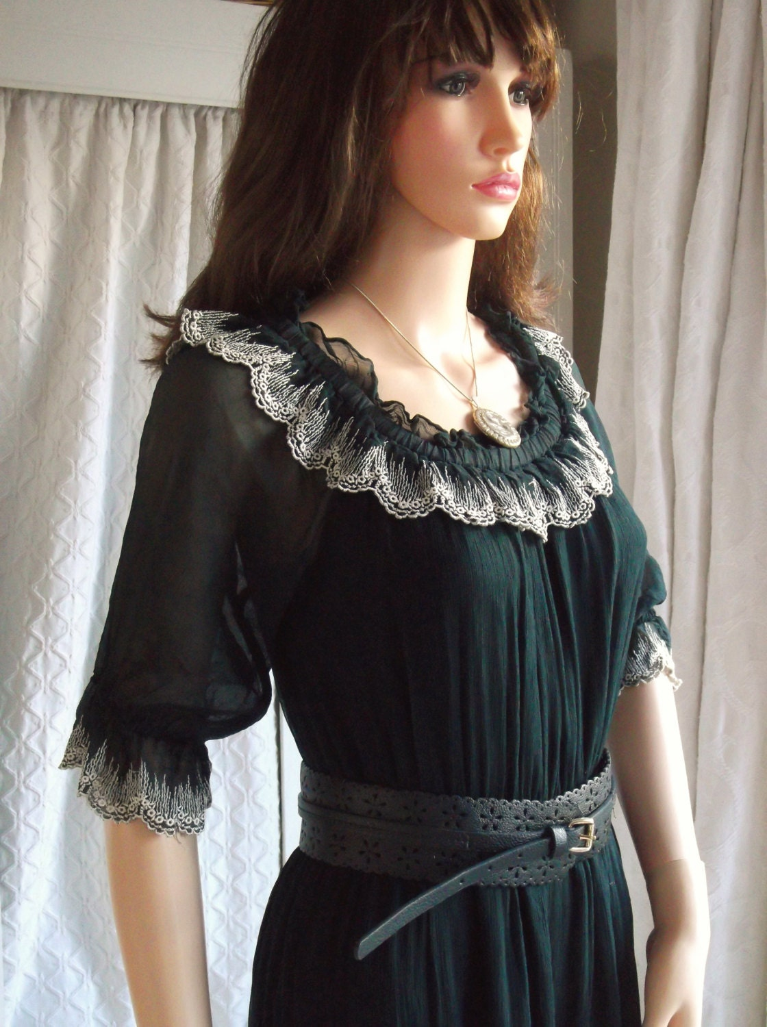 Vintage 1970s French Style Dress Burlesque Black Chiffon