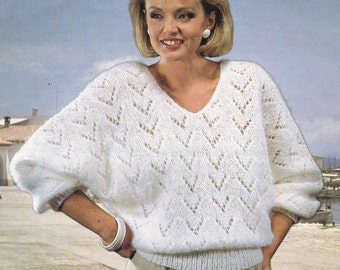 Womens bat wing sweater vintage knitting pattern 32-42 inch aran mohair pdf INSTANT download only batwing