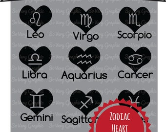 Zodiac Hearts Tattoo Horoscope SVG Files for Cricut / Silhouette  - SVG Cutting Files - Personal / Commercial Use