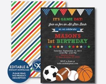 Instant Download, Editable All Star Birthday Invitation, All Star Invitation, Sports Invitation, All Star Boy Invitation, Chalkboard(CKB.81
