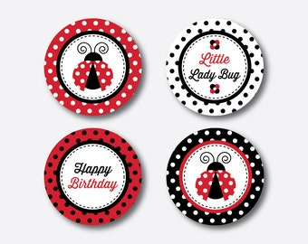 """Instant Download, Ladybug Cupcake Toppers, Ladybug Party Circles, 2"""" circles, Ladybug Gift Tags, Ladybug Thank You Tags (SKB.03)"""