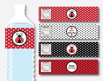 Instant Download, Ladybug Water Bottle Labels, Ladybug Water Bottle Wrappers, Lady Bug Labels, Ladybug Wrappers, Ladybug Printable (SKB.03)